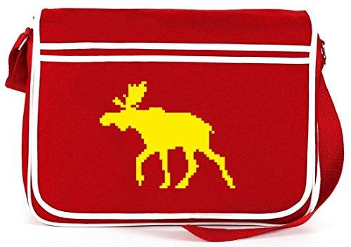 Norweger Elch, Strickmuster Schweden Retro Messenger Bag Kuriertasche Umhängetasche Rot