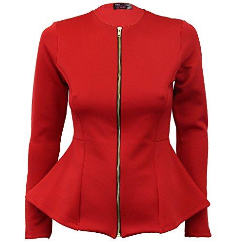 Femmes - Veste blazer péplum évasée volant ruché fermeture éclair mode décontracté Rouge - NI5416