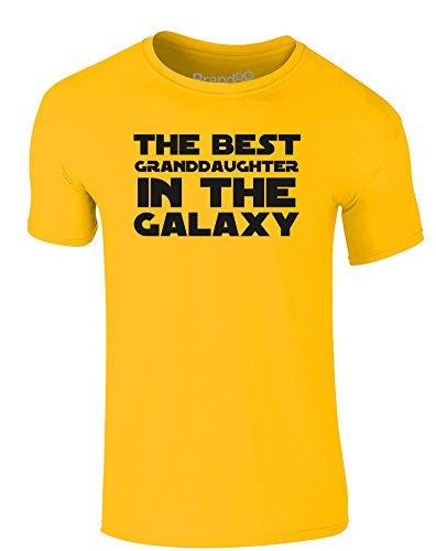Brand88 - The Best Granddaughter in the Galaxy, Erwachsene Gedrucktes T-Shirt Gänseblümchen-Gelb/Schwarz
