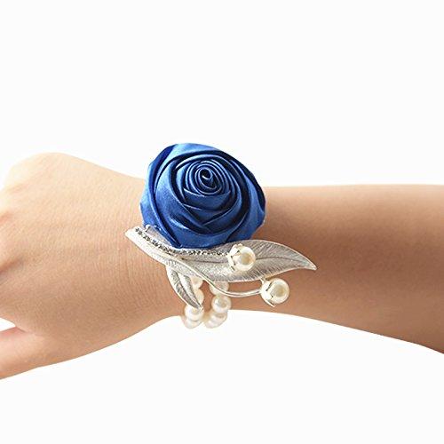 Groom boutonniere prom sposa polso corpetto matrimonio decorazione fiore party flower polso corpetto blue