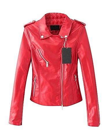 Femme Mesdames Faux Dames Veste Motard En Cuir Blouson Zipper Simili Cuir Jacket Rouge S