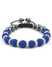 10-Ball Dark Royal Blue Bead Shamballa Bracelet with Crystalline Spacers on Black String