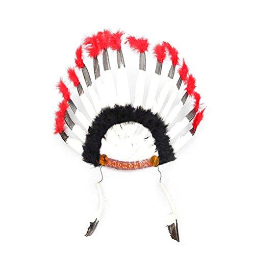 Amosfun 2 STÜCKE Indische Feder Stirnband Kopfschmuck Karneval Kopfschmuck Kostüm Headwear Halloween Kostüme für Frauen Mädchen ()