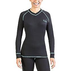 XAED - Camiseta térmica de manga larga para mujer (grande, negro/turquesa)