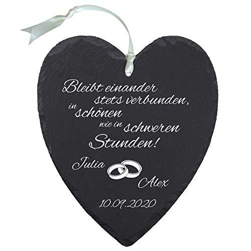 Schieferherz zur Hochzeit Ringe personalisiert - romantische Hochzeitsgeschenke für Brautpaar - personalisierte Geschenke zum Hochzeitstag