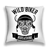 zexuandiy Kissenbezüge Decor Throw Pillow Cushion Cover, Modern Art Print,18'X 18' Vintage Images Buffalo Bison ox Design Motorcycle Bike Motorbike Scooter Club aero Club Hand Drawn Image