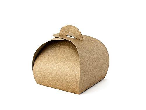 10 Stk Geschenkboxen natur braun gewölbte Kartons Boxen Gastgeschenke für Hochzeit Babyparty Taufe...