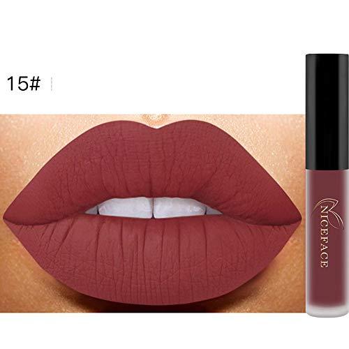 Bluestercool 26 Couleurs Rouge à Lèvres Liquide Mat Waterproof Hydratant Brillant Maquillage à Lèvres (9.8*1.5*1.5, 15#)