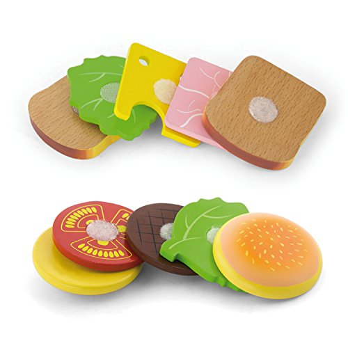 VIGA Pack de hamburguesa y sándwich de juguete - Madera
