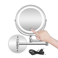 Idea Regalo - MRJ Specchio Ingranditore con Luce LED, Specchietti da Trucco a Parete Bilaterali a LED, Cromato in Metallo, Lente d'Ingrandimento 10x e Specchio Piatto, USB Ricaricabile