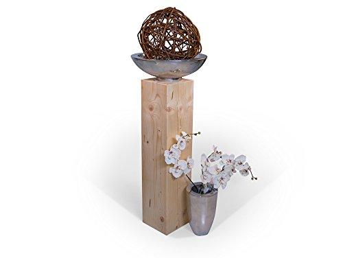 moebel-eins Blumensäule Fichte massiv Dekosäule Holzsäule Säule Landhaus Design (Natur, 19 x 19 cm   80 cm)