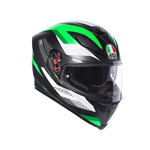 AGV Casco Moto Integrale K-5 S E2205 Multi Plk, Nero Marble Matt/Bianco/Verde, Taglia ML