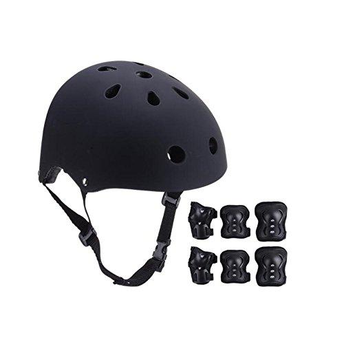 WX xin Rollschuhlaufen Schutzausrüstung Kind Helm 7 Stück/Sätze BMX Radfahren Skateboard Eislaufen Knieschoner Einstellen (Farbe : Schwarz)