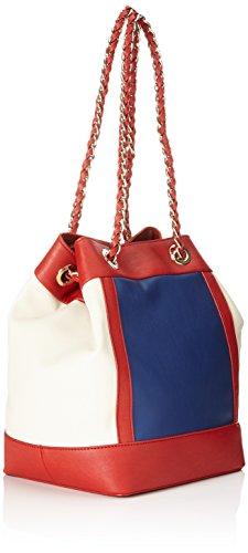 TRUSSARDI JEANS by Trussardi Damen 75bl6453 Handtasche, Eimerform, 28x27x18 cm Multicolore (Blue/Red/Nud)