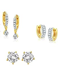 Zeneme Gold Style Diva Daily Wear Earrings Jewellery For Women And Girls - Pack Of 3