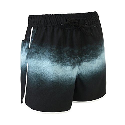 OME&QIUMEI Menschen Gesäumten Strand Hosen Seaside Hot Spring Schwimmen Hose Speed Dry Shorts (Große Europäische Code) Xs Sternenhimmel (Blau Camo Jungen Sky)
