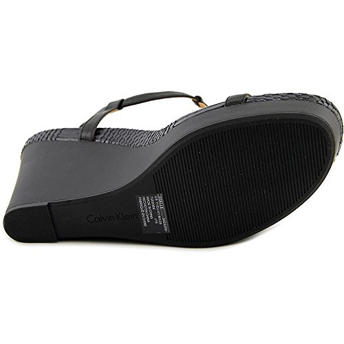 Calvin Klein Jiselle Damen Leder Keilabsätze Sandale Black