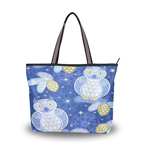 Emoya Damen Tote Schultertasche Snowy Owls Snowflakes Stars Folk Birds Top Handle Satchel Handtasche L, Mehrfarbig - multi - Größe: Medium -