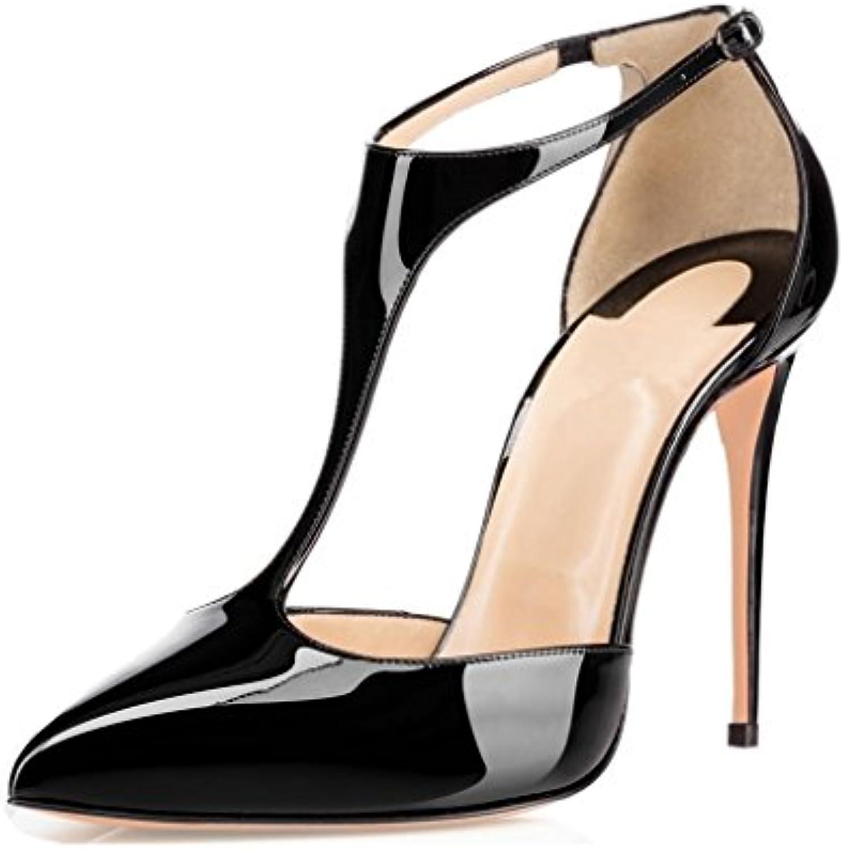 designer fashion af07a 5b8e7 EDEFS Escarpins Femmes Bout Haut Fermé Talon Aiguille 10CM Talon Haut Bout  T-Bar Chaussures
