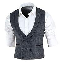TruClothing.com Mens Double Breasted Waistcoat Herringbone Tweed Peaky Blinders 1920s Check - grey-07 38
