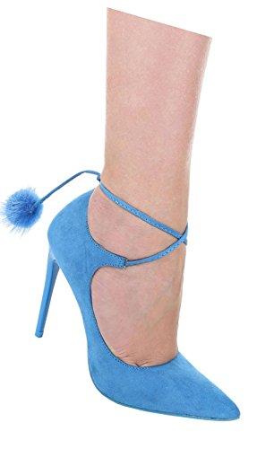 Damen Pumps Schuhe High Heels Stöckelschuhe Stiletto Mit Deko Pink Beige Schwarz Blau Grau 36 37 38 39 40 Blau