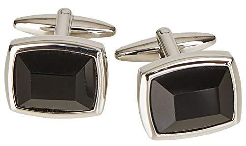 Wilvorst Manschettenknöpfe, rechteckig, silberfarben mit schwarzer Einlage