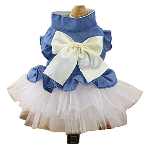 Niedliche Arbeit Kostüm Tragen - AMURAO Jean Hund Brautkleider Perle Blumenschmuck Spitze Katze Kleidung Klassische Schnee Prinzessin Pet Kostüme