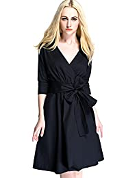 Womdee Women Vintage Retro Half Sleeve Deep V-neck Bow Belt Swing Casual Dress