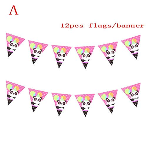 Cartoon Lovely Panda Paper Plate Cup Flag Banner Party Decoration For Kids Birthday Party Decoration Supplies Popcorn Box,Deep Sapphire