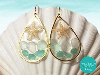 Caribe - Boucles d'oreilles en verre vert océan, or 14 carats, véritables boucles d'oreilles en étoile de mer, boucles d'oreilles en coquille des Caraïbes, créoles en forme de sirène - ER43