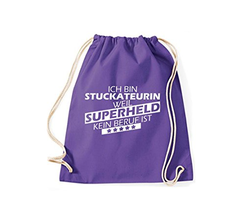 Shirtstown Turnbeutel Ich bin Stuckateurin, weil Superheld kein Beruf ist purple