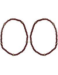 DollsofIndia Pair Of Maroon Crystal Bead Stretchable Anklet - Free Size - Red