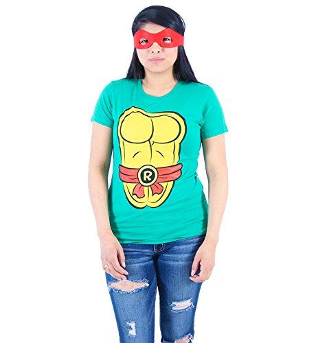 Mighty Fine TMNT Teenage Mutant Ninja Turtles Raphael Kostüm Grün Damen T-shirt Tee (Damen X-Large)