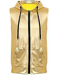 Agoky Sweats à Capuche Cordelette Homme Gilet sans Manches Métallique  Brillante Sweat-Shirt T Shirt de Sport Veste de Danse Hippie Jazz… 170dab0fb769