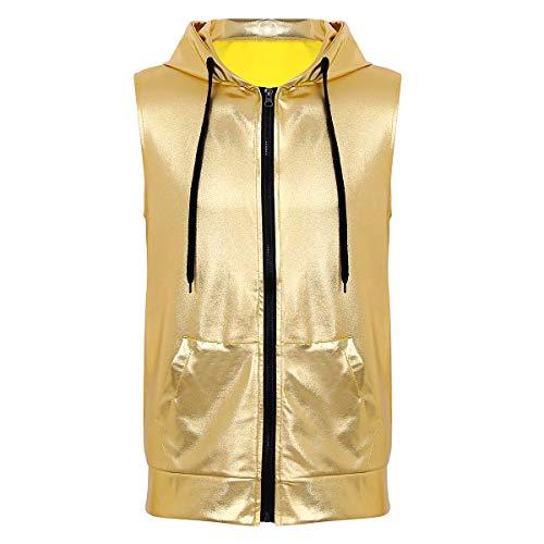 Tiaobug Herren Kapuzen-Shirt Hip Hop Hoodie Metallic ärmellos Top T-Shirt Weste mit Kapuze Reißverschluss und Kängurutaschen Clubwear in Lederoptik Gold L