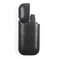 ICCESSOIRE - Case PU Leder Croco Optik für iQOS, Schutzhülle Struktur (Schwarz)