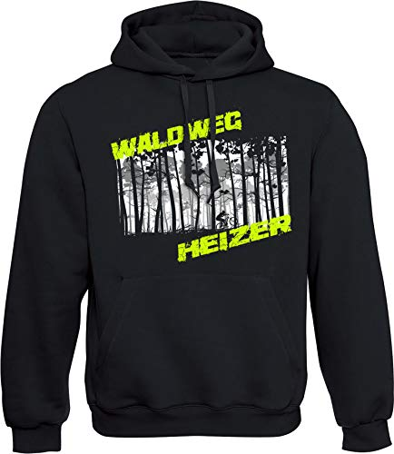 Hoodie: Waldweg Heizer - Fahrrad Kapuzenpullover für Herren & Damen - Geschenk Radfahrer Radsport - Sweatshirt Mountain-Bike MTB - BMX Fixie Rennrad Tour - Sweater Outdoor - Hoody - Kapuze-n (L)