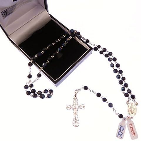 Schwarz Kristall Glas Rosenkranz Perlen auf Sterling-Silber 925Kette und Kreuz in Box