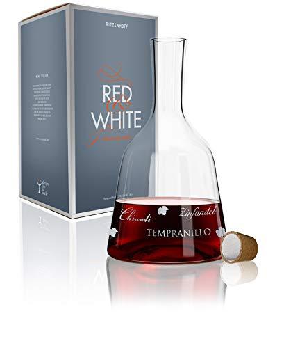 Ritzenhoff 3280004 Red & White Weinkaraffe Glas, 15 x 15 x 26,7 cm, Mehrfarbig