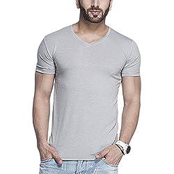 Tinted Men's Solid Slim Fit T-Shirt (TJ101RH_Grey_Medium)