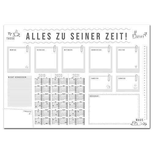 Schreibtischunterlage Alles zu seiner Zeit mit 3-Jahres-Kalender I DIN A2 I Schreib-Unterlage aus Papier zum Abreißen I dv_193