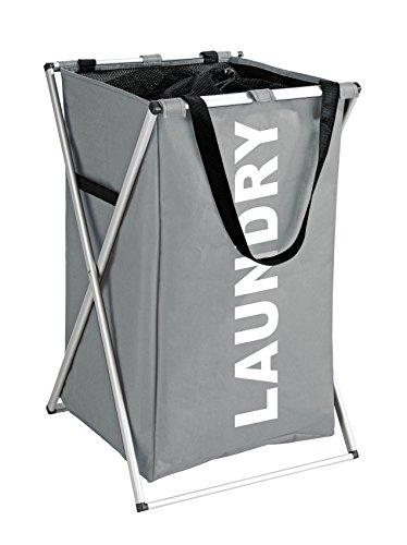 Wenko 3440031100 Wäschesammler Uno Wäschekorb Fassungsvermögen 52 L, Polyester, grau, 35 x 57 x 38 cm