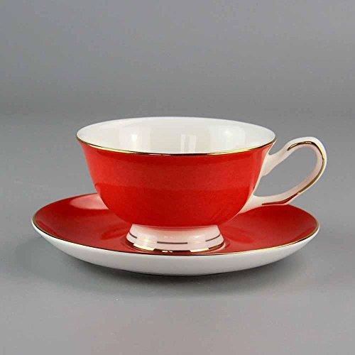 SSBY Bone China café ensembles, coupe classique couleur café, tasse rouge et cadeau soucoupe tasse