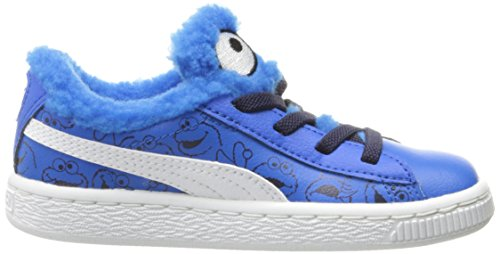 Puma Basket Sesame Cuir Baskets Electric Blue Lemonade-Black
