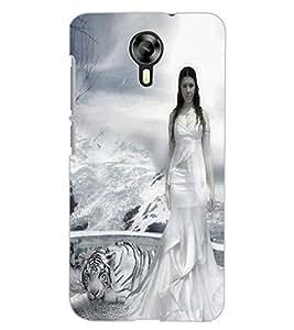 ColourCraft Girl with Tiger Design Back Case Cover for MICROMAX CANVAS XPRESS 2 E313