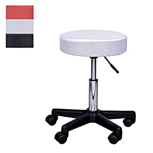 HOMCOM Massage Salon Spa Swivel Stool Beauty Facial Gas Lift Manicure Tattoo- Changeable Covers - Red