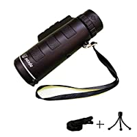 FELiCONŽ Portable Mini 40x60 Monocular Optic Zoom Lens FMC BaK4 HD Monocular Telescope with Free Tripod and Mobile Phone Clip for BirdWatching Traveling Outdoor SightSeeing