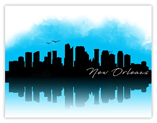 Ramini Brands New Orleans Skyline Zeichnung - 11 x 35,6 cm ungerahmter Druck - tolles Geschenk für jeden, der Herz in Louisiana ist - schöne Stadtlandschaft für Zuhause, Büro, hohe Büros, Banken. (New Skyline Orleans Von)