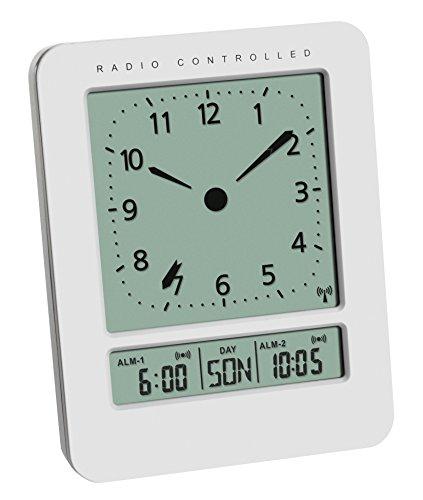 TFA Dostmann Digitaler Funk-Wecker mit analogem Zifferblatt und Temperatur, Kunststoff, Weiß, ((L) 72 x (B) 45 x (H) 93 mm