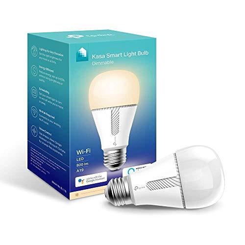 TP-Link KL110 Lampadina Wi-Fi E27, 10 W, Funziona con Amazon Alexa e Google Home, 800 lumen, Bianco Dimmerabile dall' 1% al 100%, Controllo da remoto